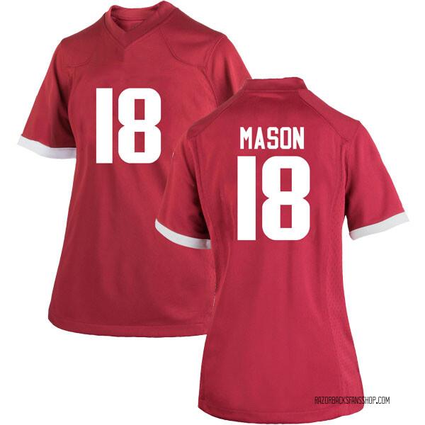 Women's Myles Mason Arkansas Razorbacks Nike Game Cardinal Football College Jersey